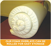 Our foam overlays can be rolled for easy storage